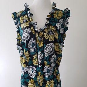 Eloquii Dresses - Eloquii s16 yellow&green floral print ruffle dress